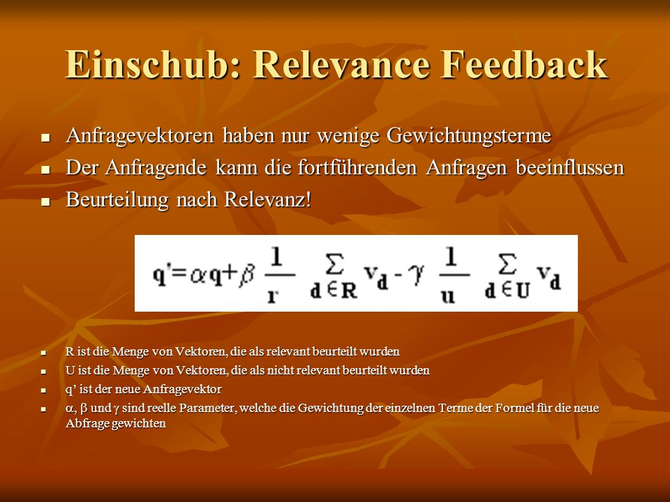 Einschub: Relevance Feedback