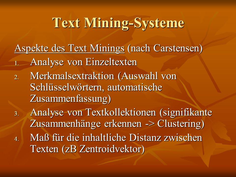 Text Mining-Systeme Aspekte des Text Minings (nach Carstensen)