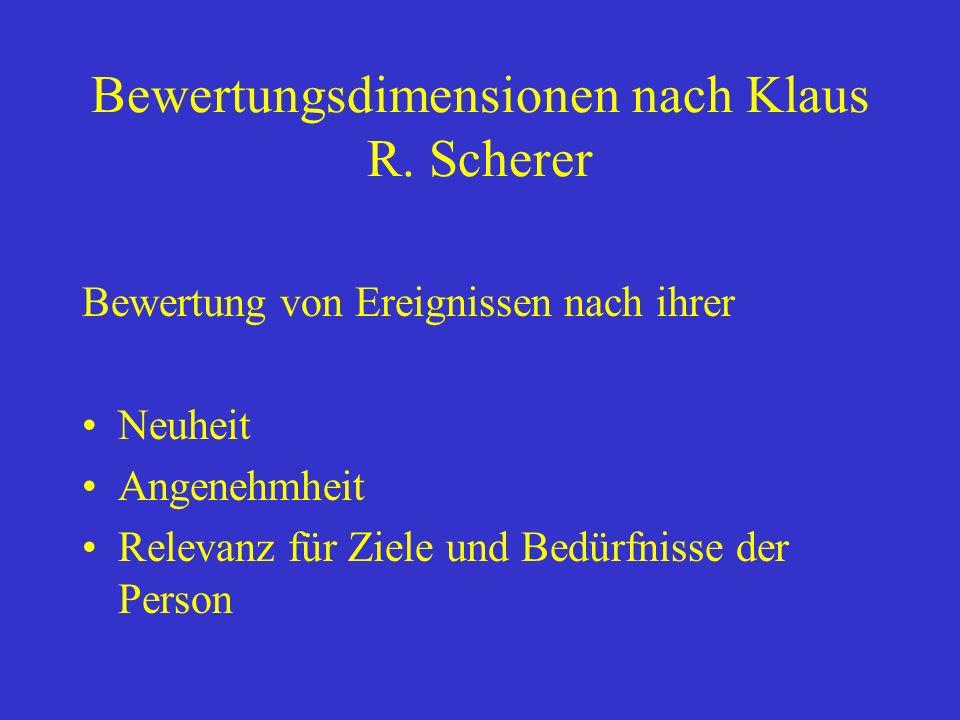 Bewertungsdimensionen nach Klaus R. Scherer