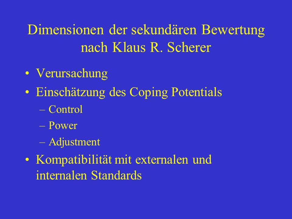 Dimensionen der sekundären Bewertung nach Klaus R. Scherer