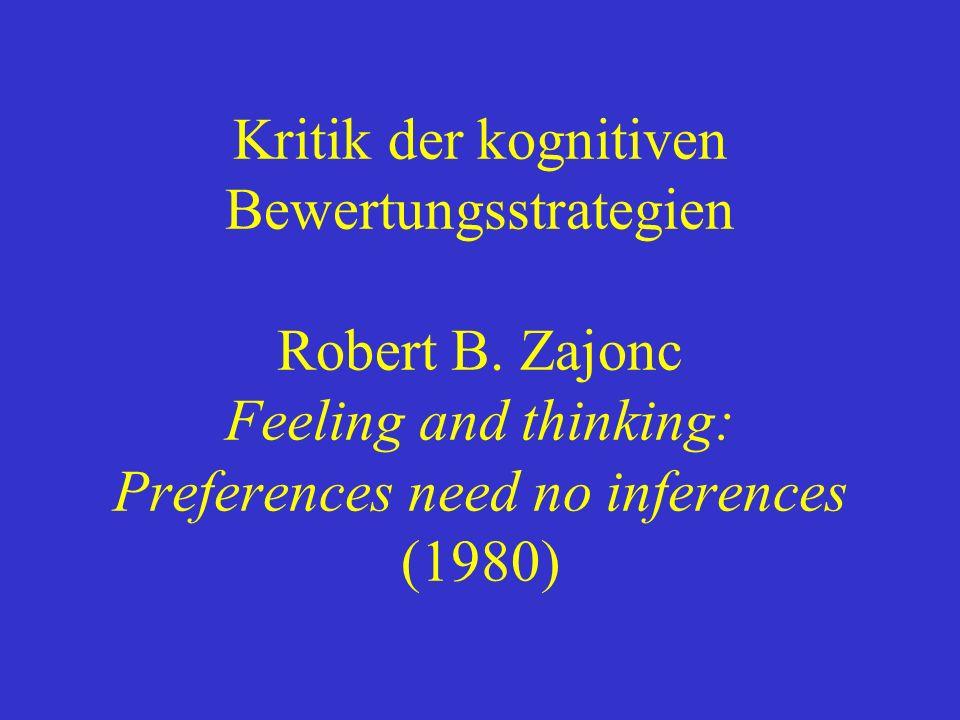 Kritik der kognitiven Bewertungsstrategien Robert B