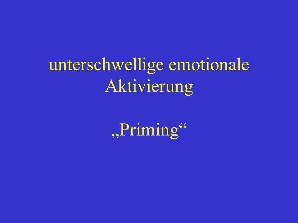 """unterschwellige emotionale Aktivierung """"Priming"""