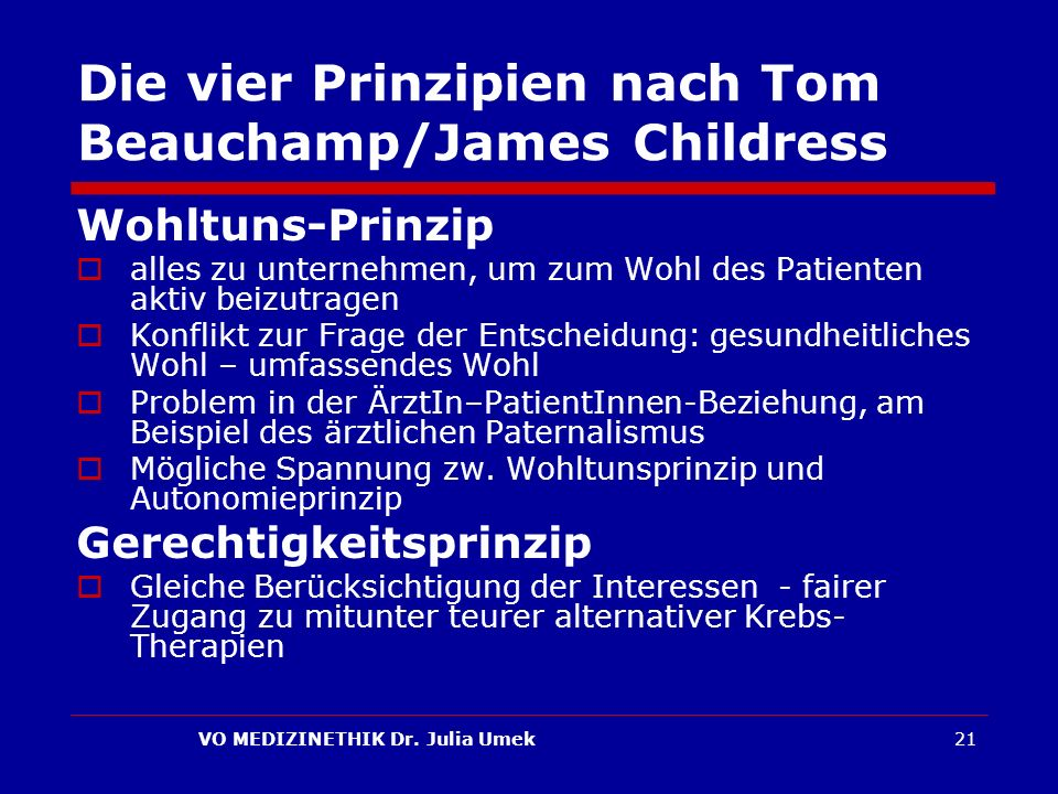 Die vier Prinzipien nach Tom Beauchamp/James Childress