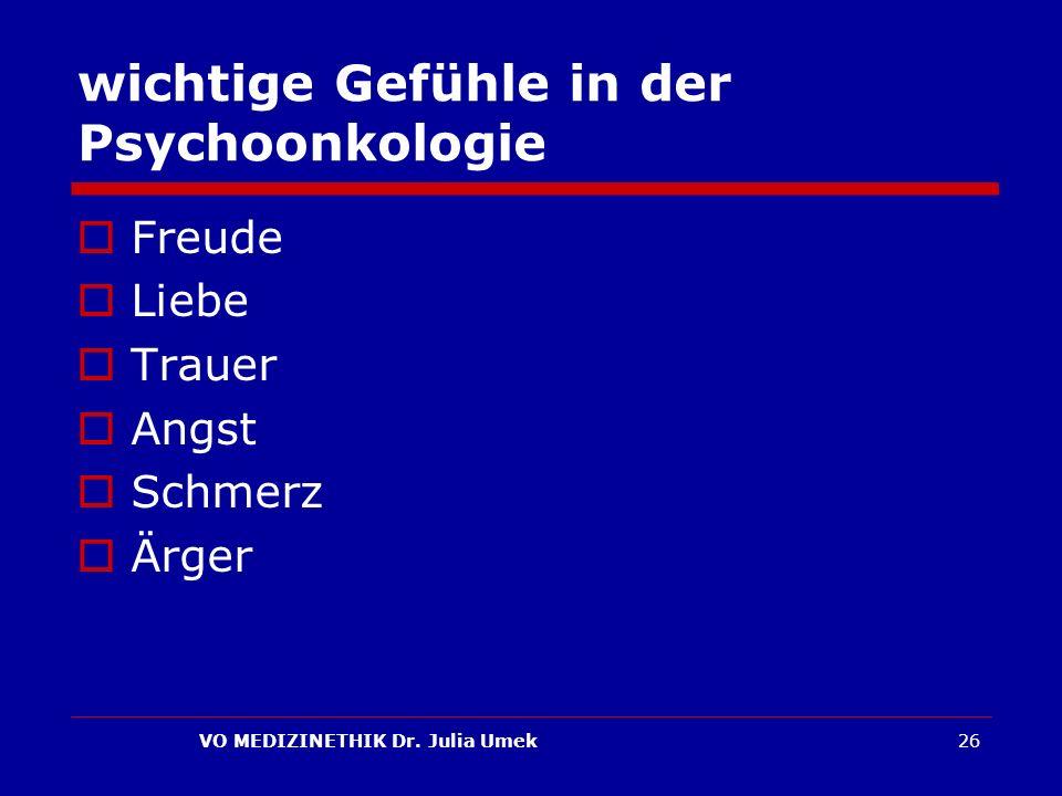 wichtige Gefühle in der Psychoonkologie