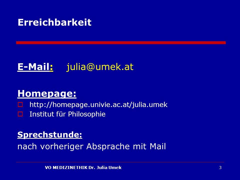 VO MEDIZINETHIK Dr. Julia Umek