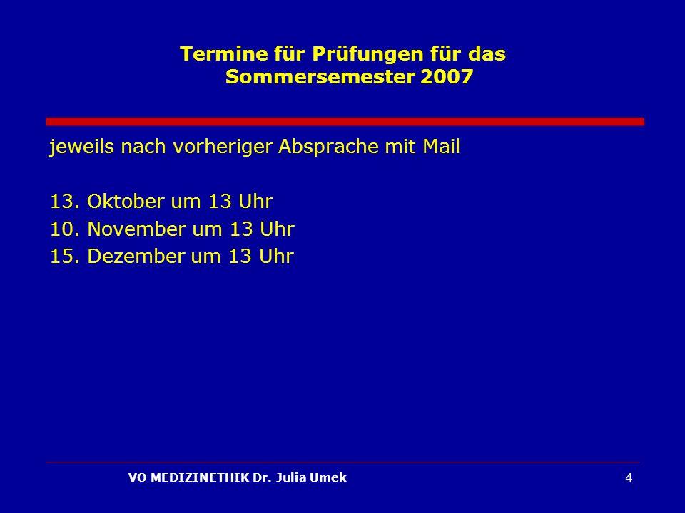 Termine für Prüfungen für das Sommersemester 2007