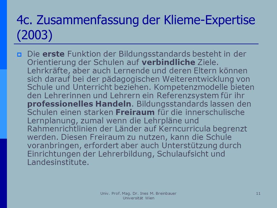 4c. Zusammenfassung der Klieme-Expertise (2003)