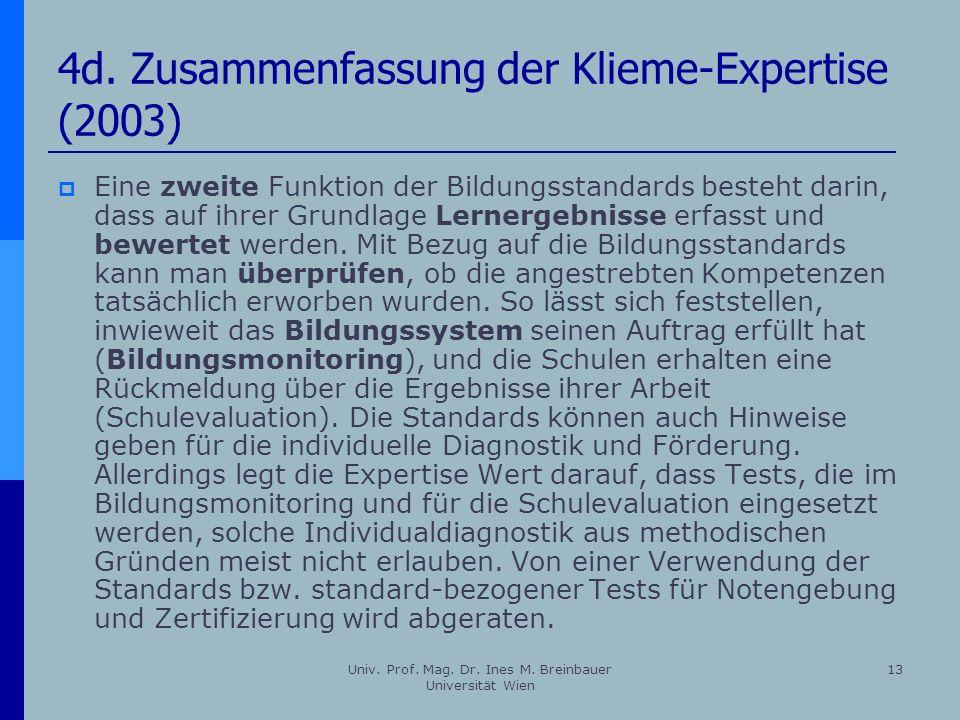 4d. Zusammenfassung der Klieme-Expertise (2003)