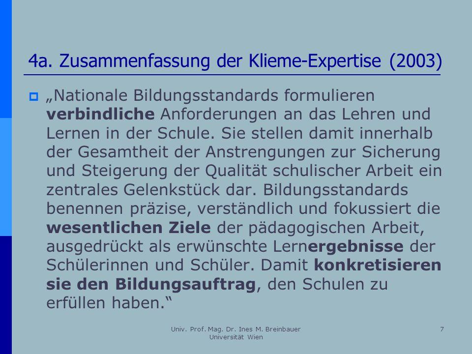 4a. Zusammenfassung der Klieme-Expertise (2003)
