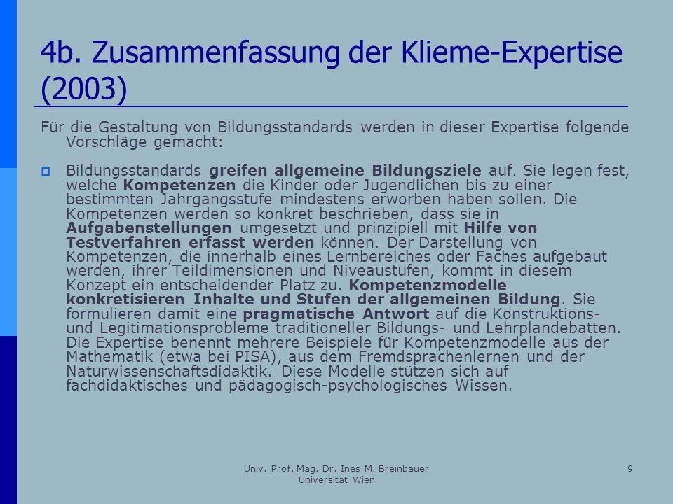 4b. Zusammenfassung der Klieme-Expertise (2003)