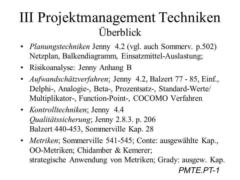 III Projektmanagement Techniken Überblick