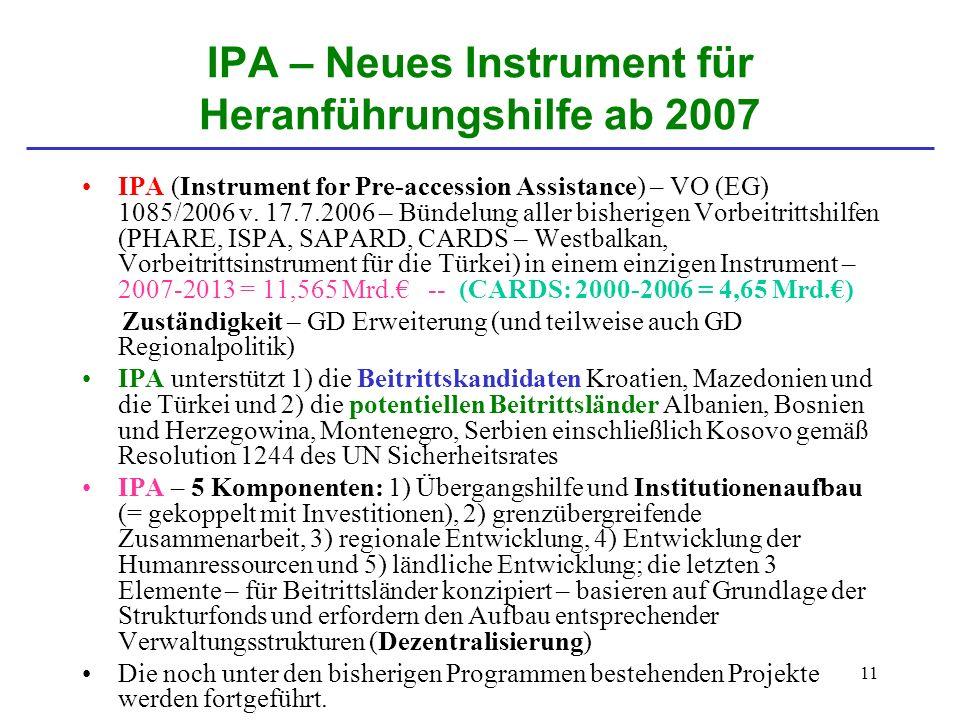IPA – Neues Instrument für Heranführungshilfe ab 2007