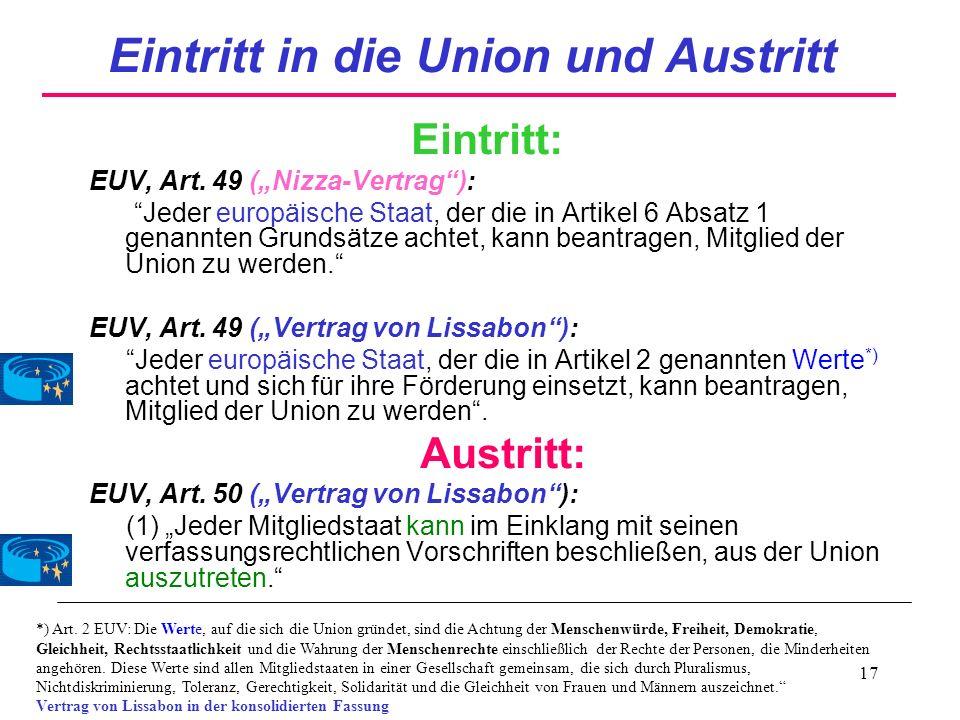 Eintritt in die Union und Austritt