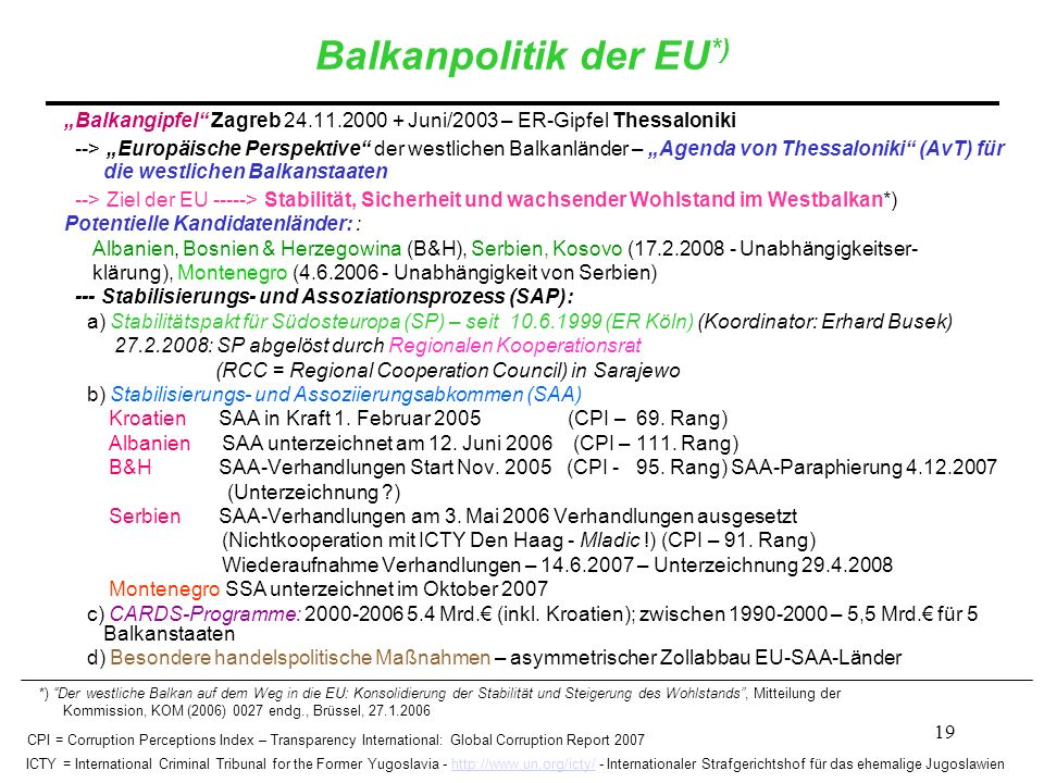 Balkanpolitik der EU*)