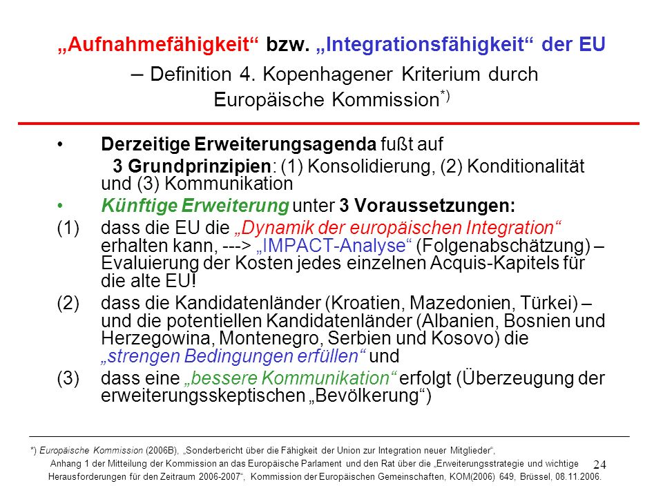 """""""Aufnahmefähigkeit bzw. """"Integrationsfähigkeit der EU – Definition 4"""