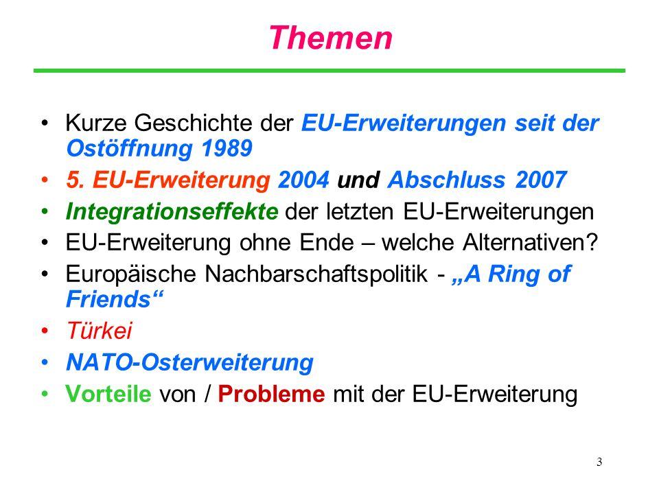 Themen Kurze Geschichte der EU-Erweiterungen seit der Ostöffnung 1989