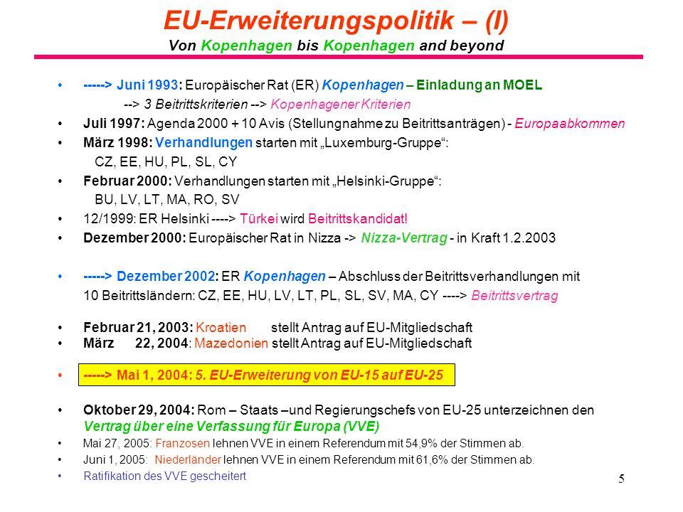 EU-Erweiterungspolitik – (I) Von Kopenhagen bis Kopenhagen and beyond