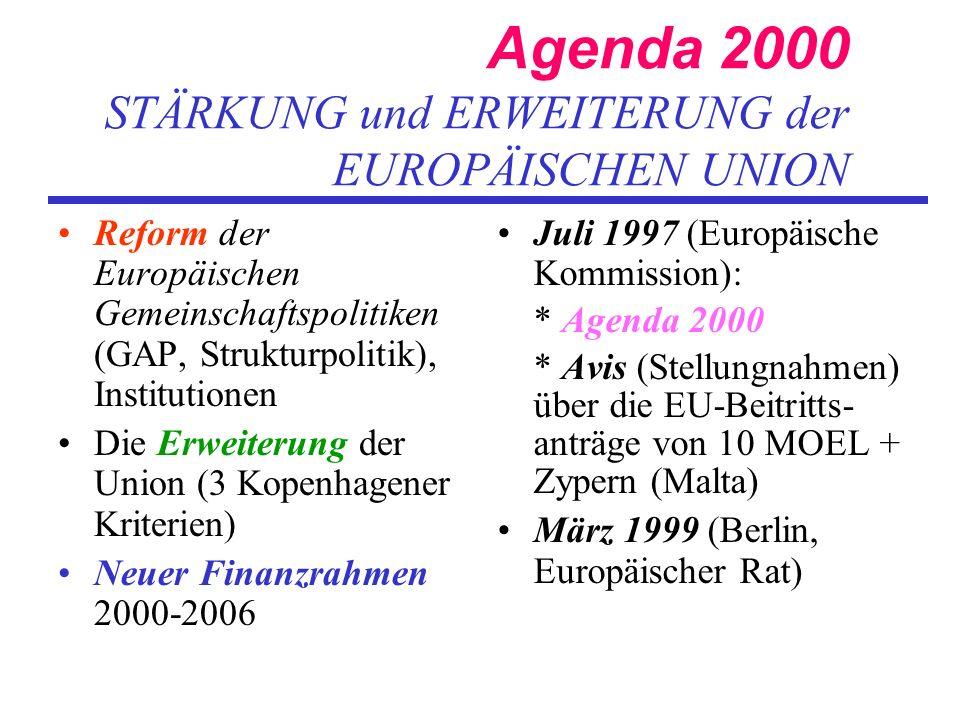 Agenda 2000 STÄRKUNG und ERWEITERUNG der EUROPÄISCHEN UNION