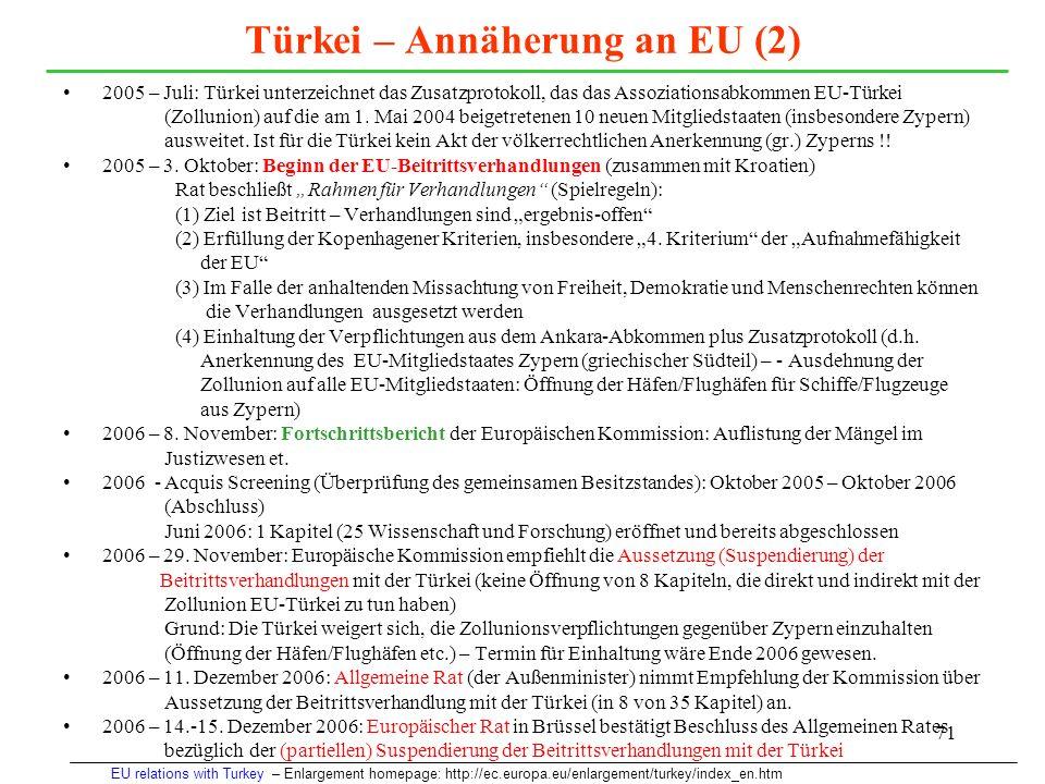 Türkei – Annäherung an EU (2)