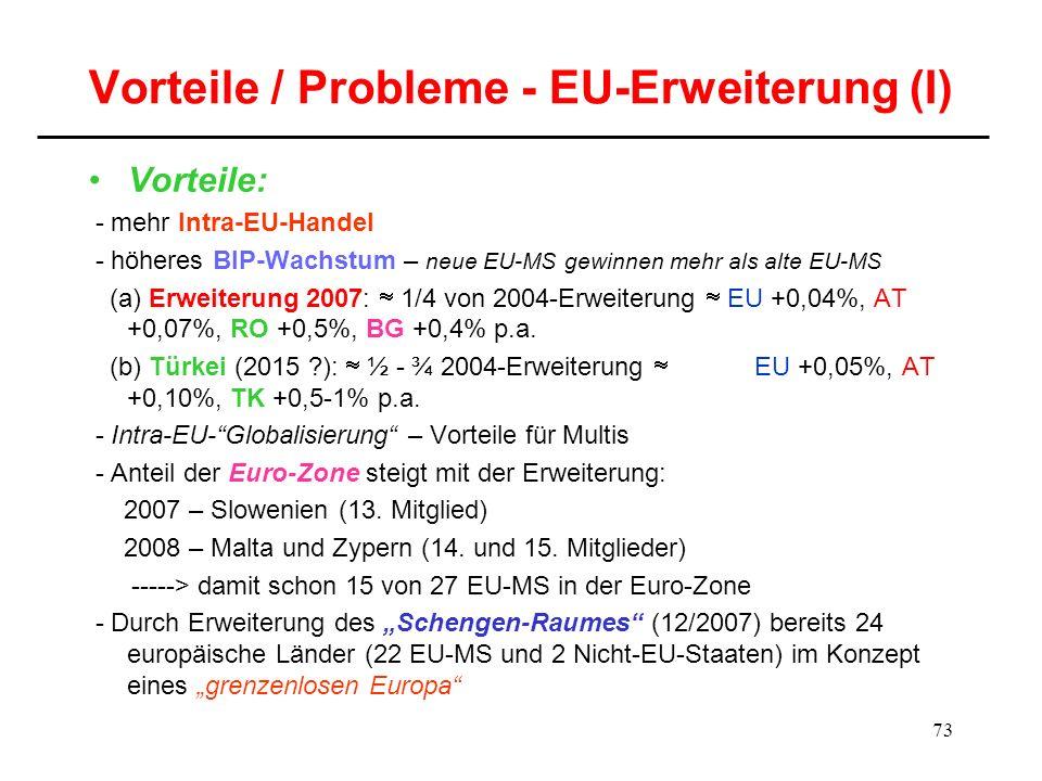 Vorteile / Probleme - EU-Erweiterung (I)
