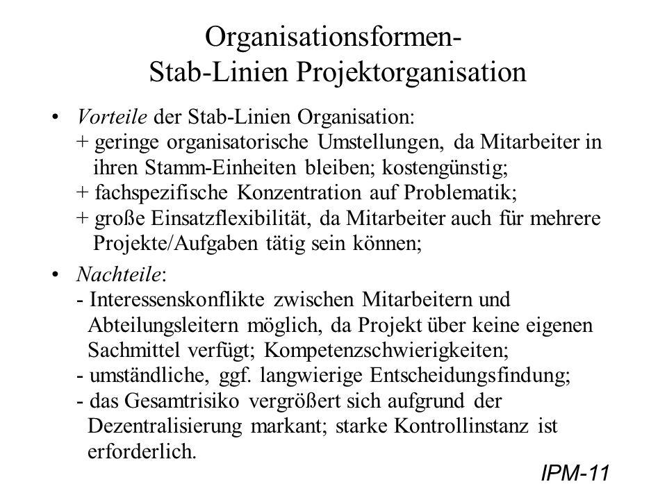 Organisationsformen- Stab-Linien Projektorganisation