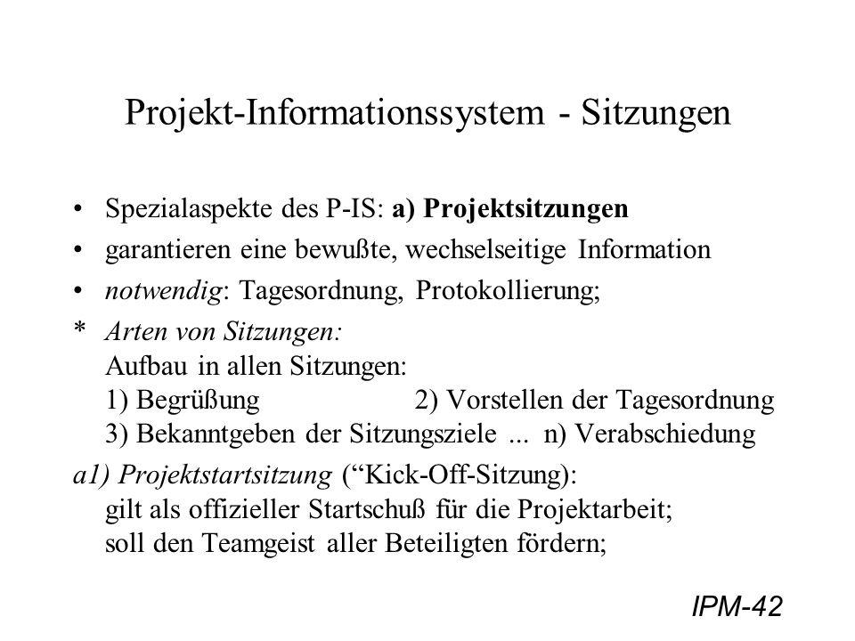Projekt-Informationssystem - Sitzungen