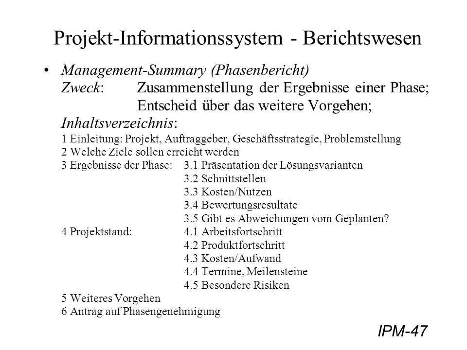 Projekt-Informationssystem - Berichtswesen
