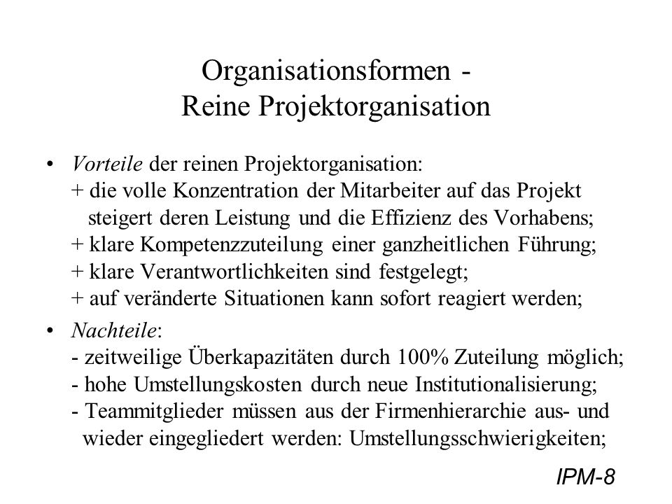 Organisationsformen - Reine Projektorganisation