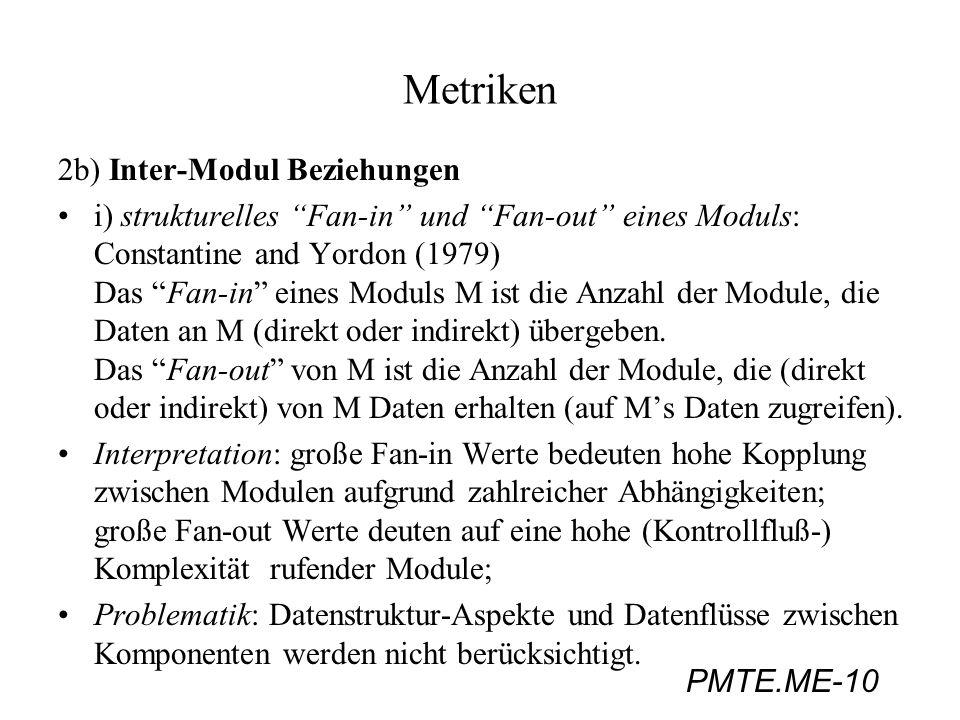 Metriken 2b) Inter-Modul Beziehungen