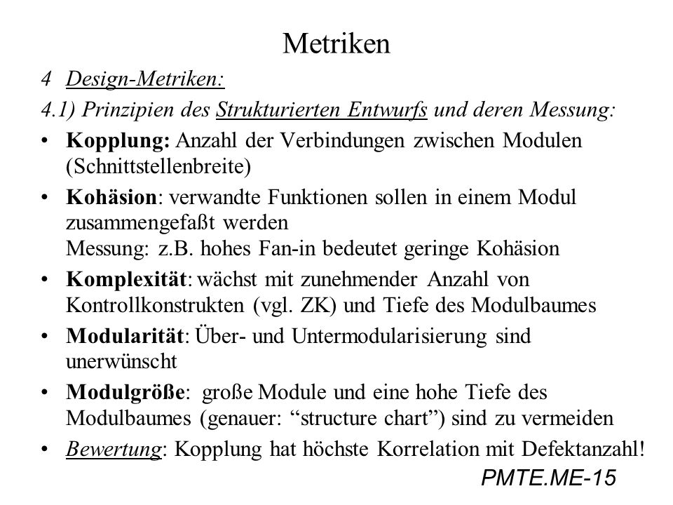 Metriken 4 Design-Metriken: