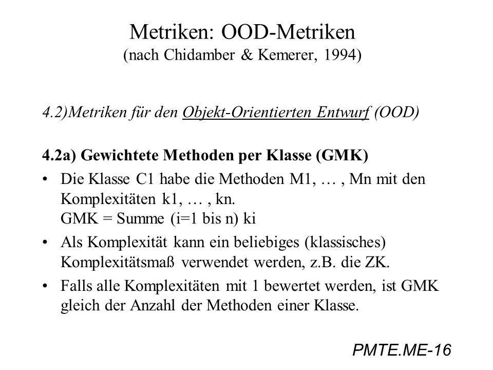 Metriken: OOD-Metriken (nach Chidamber & Kemerer, 1994)