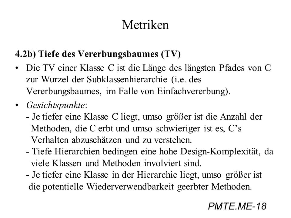 Metriken 4.2b) Tiefe des Vererbungsbaumes (TV)