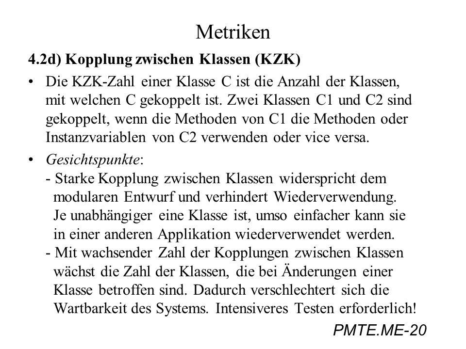Metriken 4.2d) Kopplung zwischen Klassen (KZK)