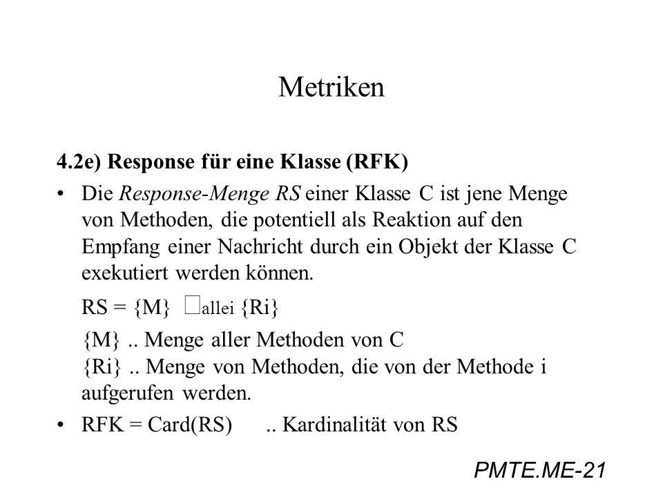 Metriken 4.2e) Response für eine Klasse (RFK)