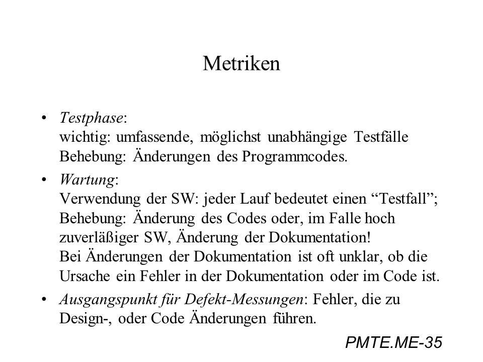 MetrikenTestphase: wichtig: umfassende, möglichst unabhängige Testfälle Behebung: Änderungen des Programmcodes.