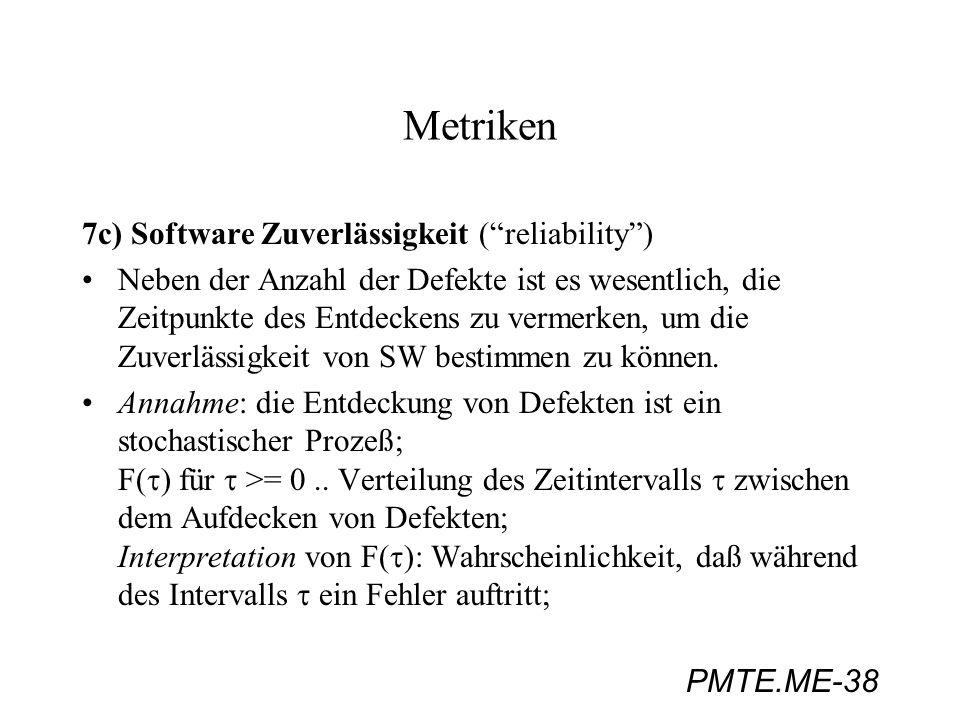 Metriken 7c) Software Zuverlässigkeit ( reliability )