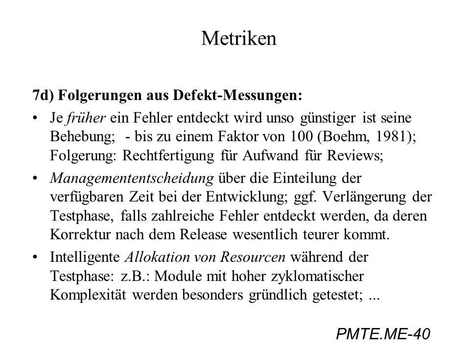 Metriken 7d) Folgerungen aus Defekt-Messungen: