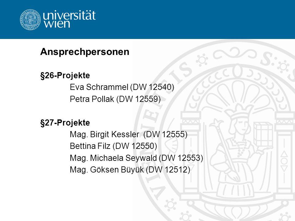 Ansprechpersonen §26-Projekte Eva Schrammel (DW 12540)