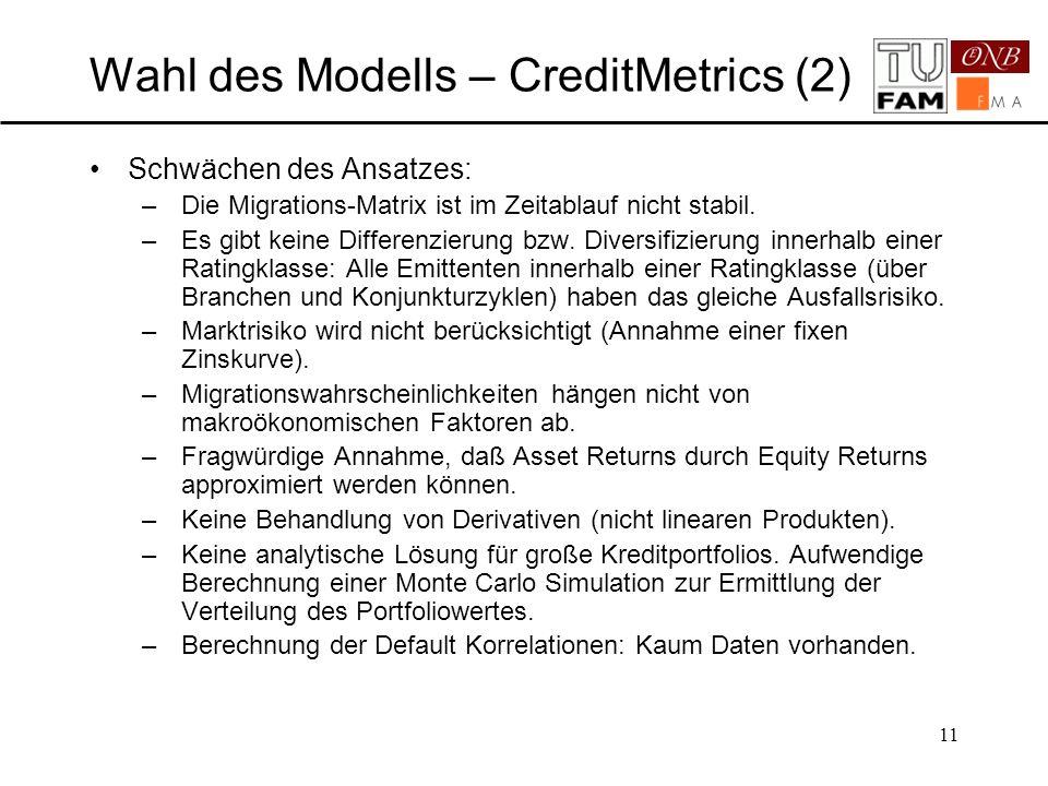 Wahl des Modells – CreditMetrics (2)