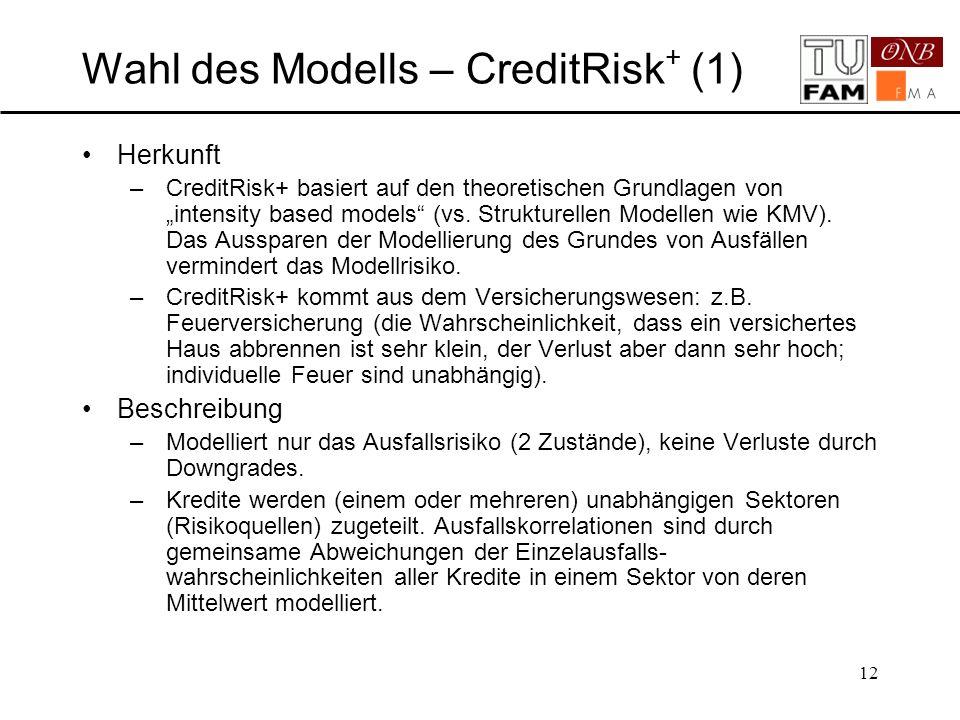 Wahl des Modells – CreditRisk+ (1)