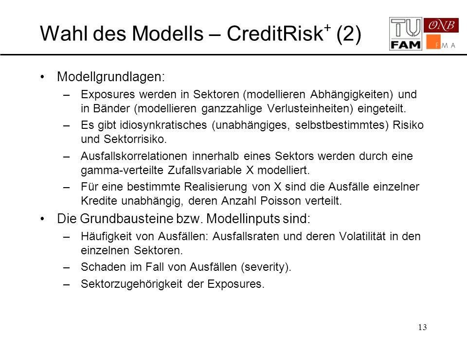 Wahl des Modells – CreditRisk+ (2)