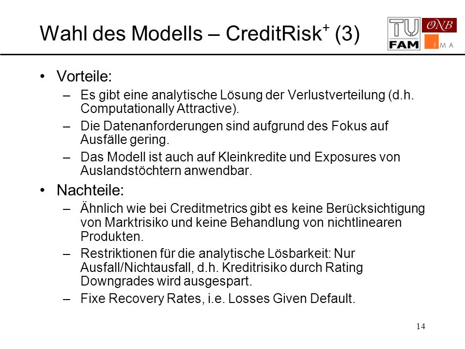 Wahl des Modells – CreditRisk+ (3)