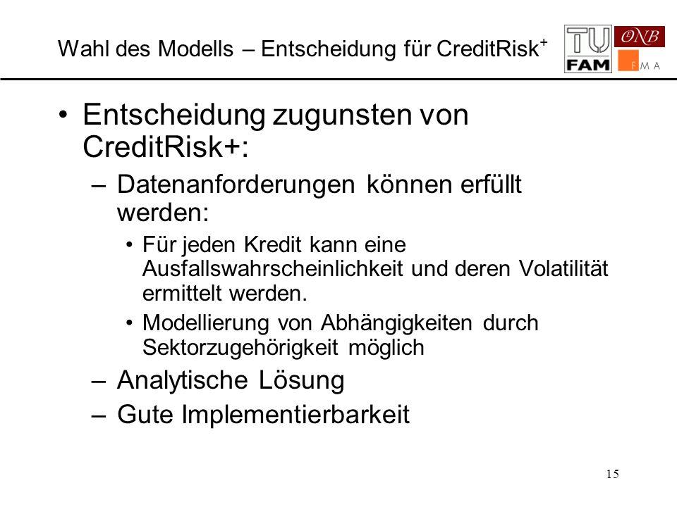 Wahl des Modells – Entscheidung für CreditRisk+