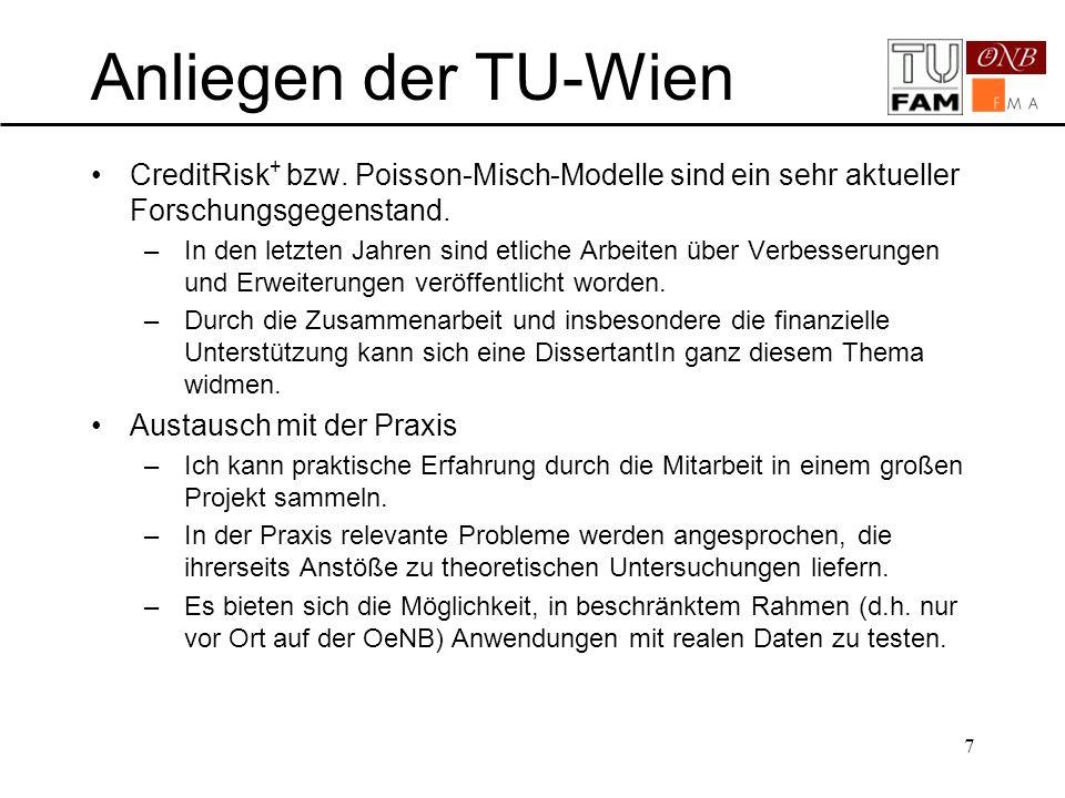 Anliegen der TU-Wien CreditRisk+ aktuelles Forschungsgebiet
