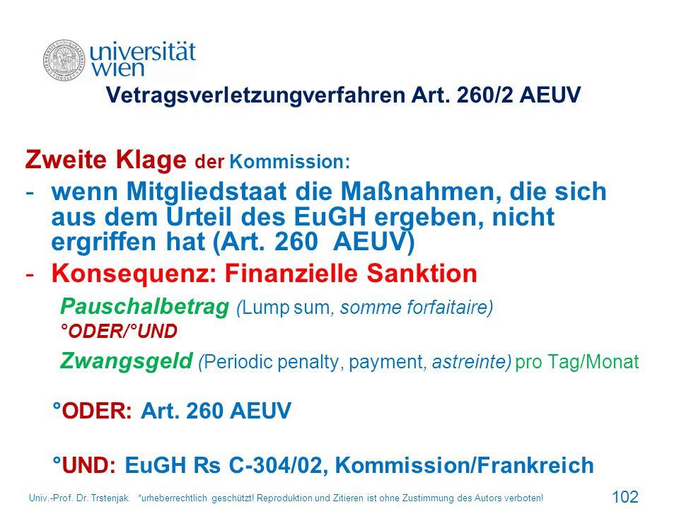 Vetragsverletzungverfahren Art. 260/2 AEUV