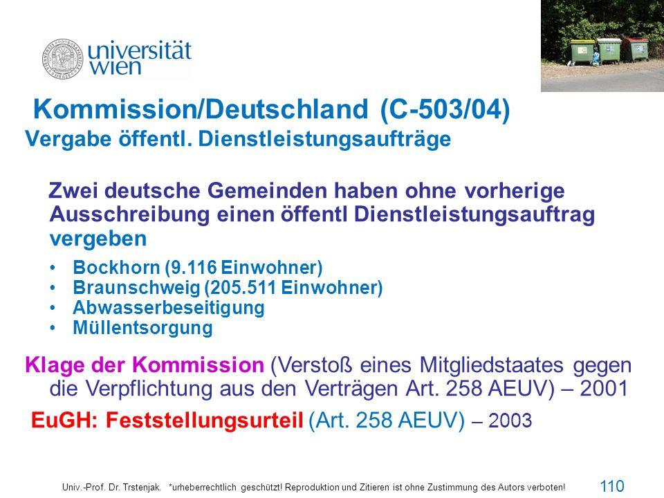 110110110 Kommission/Deutschland (C-503/04) Vergabe öffentl. Dienstleistungsaufträge.