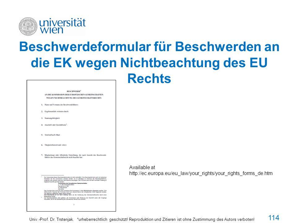 Beschwerdeformular für Beschwerden an die EK wegen Nichtbeachtung des EU Rechts