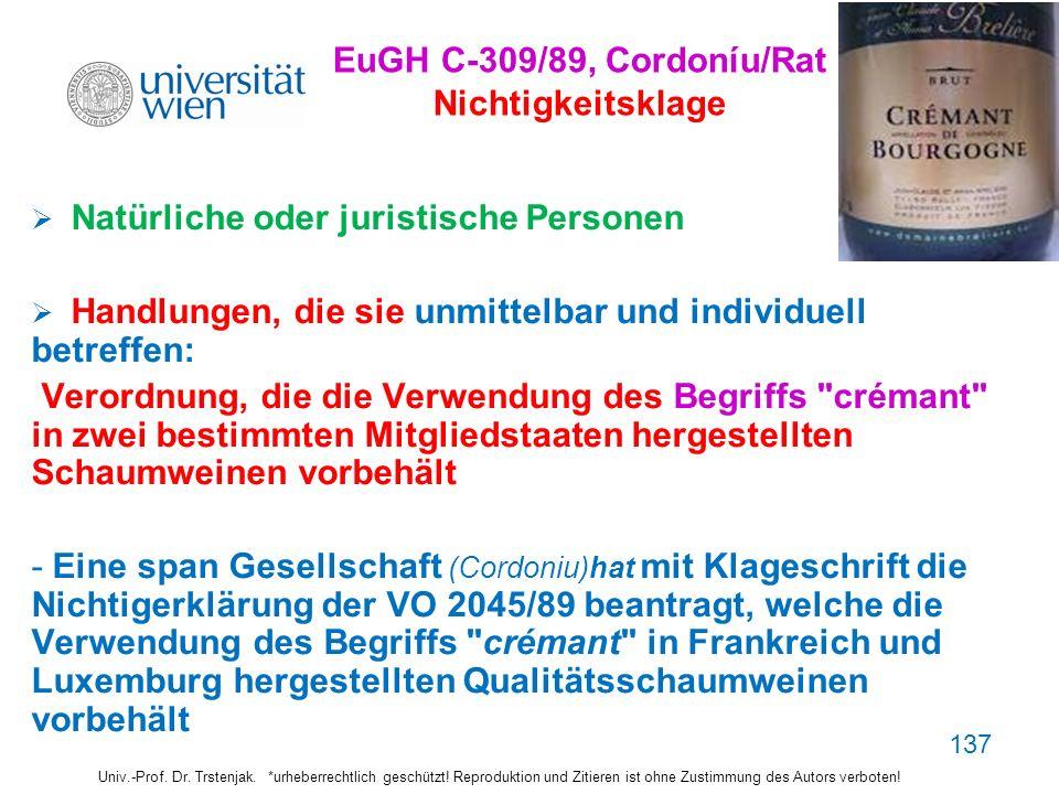 EuGH C-309/89, Cordoníu/Rat Nichtigkeitsklage