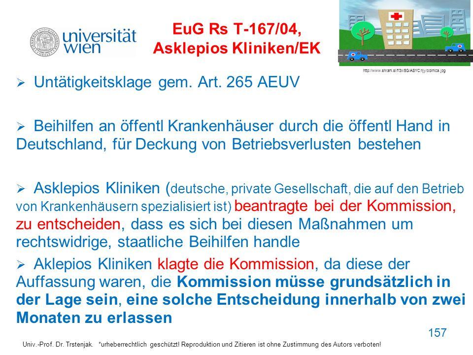 EuG Rs T-167/04, Asklepios Kliniken/EK