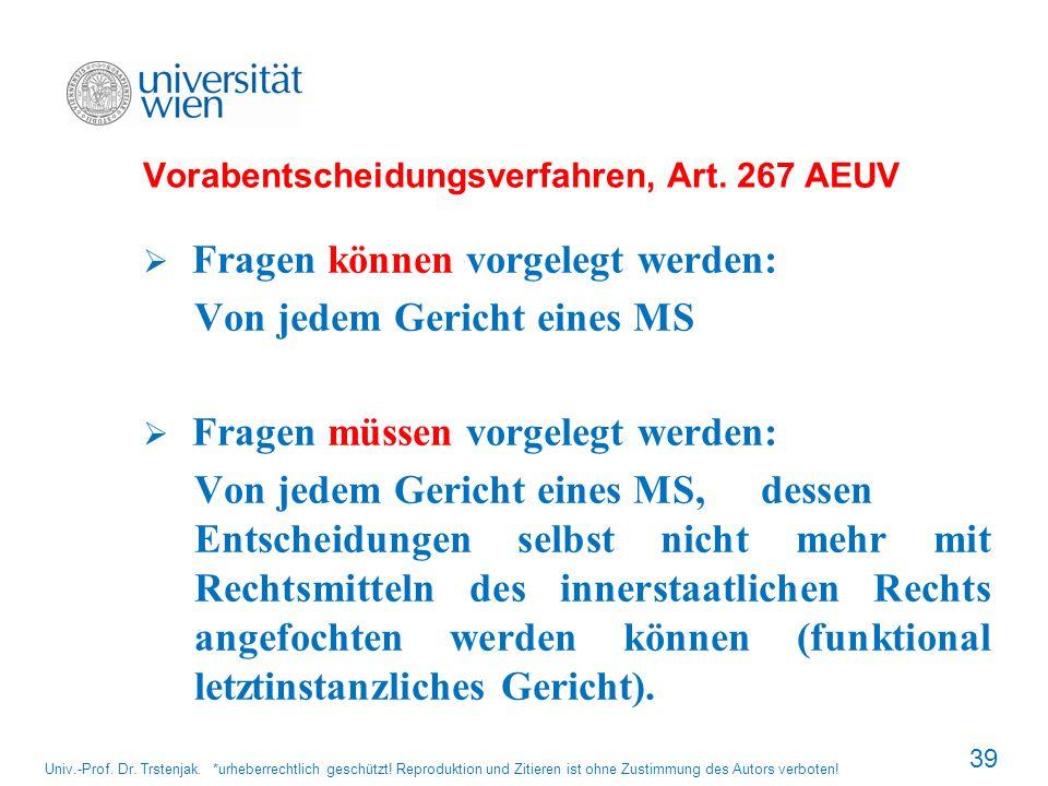 Vorabentscheidungsverfahren, Art. 267 AEUV